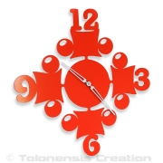 Horloge rouge CIRCUS - Design Jacques Lahitte © Tolonensis Creation