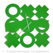 Horloge verte TIC-TAC-TOE - Design Jacques Lahitte © Tolonensis Creation