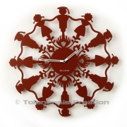 Horloge Polish Folk KRAKOWIACY Rouge carmin - Design Jacques Lahitte © Tolonensis Creation