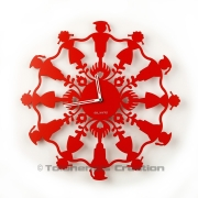 Horloge Polish Folk KRAKOWIACY Rouge - Design Jacques Lahitte © Tolonensis Creation