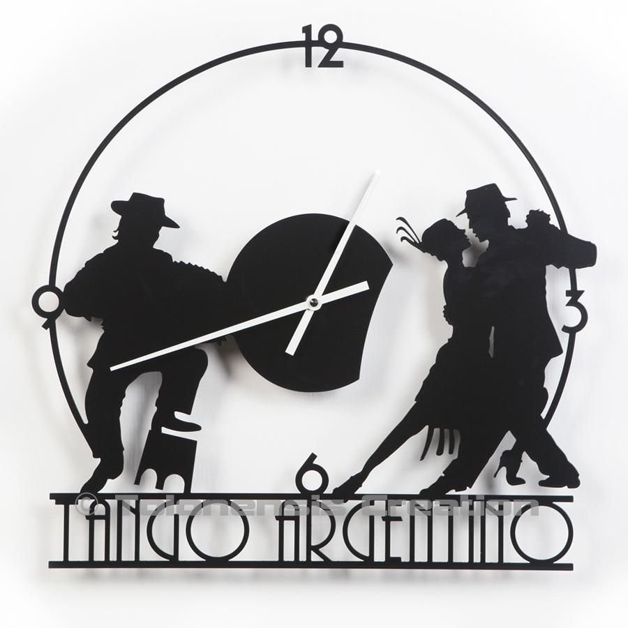 Très belle horloge de Tango Argentin  avec son couple de danseurs et le musicien au bandonéon - Design Jacques Lahitte © Tolonensis Creation