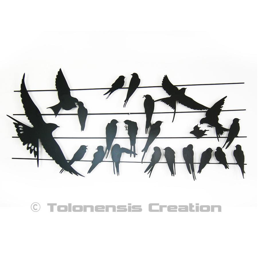 Décoration murale en métal Oiseaux BIRDY 90 cm