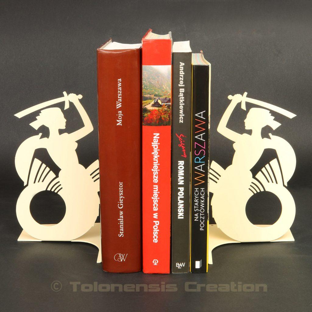 Paire de serre-livres Sirène de Varsovie en version beige – Design Jacques Lahitte © Tolonensis Creation