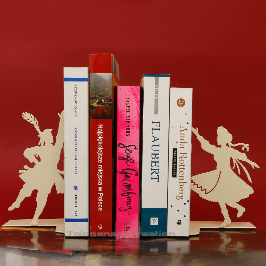 Serre-livres Krakowiacy en version beige avec les danseurs folkloriques de la région de Cracovie – Design Jacques Lahitte © Tolonensis Creation