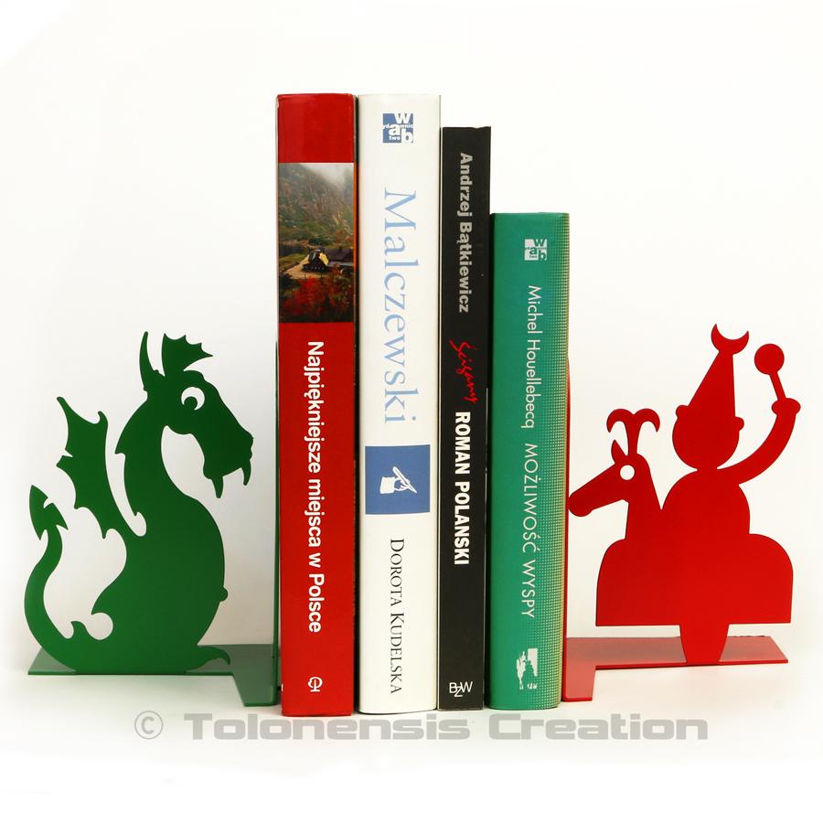 Serre-livres folklore de CRACOVIE avec le dragon de Wawel et le Lajkonik – Design Jacques Lahitte © Tolonensis Creation