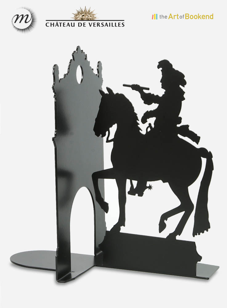 Le serre-livres équestre Louis XIV d'après la statue de Pierre Cartelier et Louis Petitot. Design Jacques Lahitte © the Art of Bookend