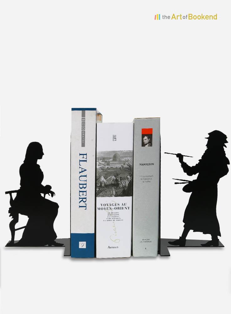 Serre-livres Léonard de Vinci peignant la Joconde